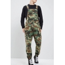 Men's Popular Fashion Cool Camouflage Printed Army Green Multi-pocket Cargo Tactical Trousers Bib Overalls