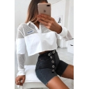 New Arrival Long Sleeve Stand Collar Button Front White Mesh Patch Crop Sweatshirt