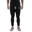 Men's Fashion Colorblock Tape Side Logo Printed Drawstring Waist Slim Sports Pencil Pants