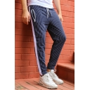Men's Hot Fashion Stripe Pattern Zipped Pockets Drawstring Waist Casual Sports Pencil Pants