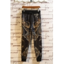 Men's Hot Fashion Cool Dragon Printed Drawstring Waist Black Ice Silk Fabric Relaxed Pants