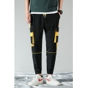 Men's Casual Fashion Colorblock Drawstring Waist Elastic Cuffs Sports Cargo Pants with Side Pockets