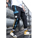 Men's Popular Fashion Contrast Stripe Side Flap Pocket Drawstring Waist Elastic Cuffs Street Trendy Cargo Pants