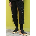Men's Designer Fashion Solid Color Zipper Ribbon Embellished Black Cool Cargo Pants