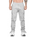 Men's New Fashion Simple Plain Drawstring Waist Casual Relaxed Sweatpants Cargo Pants with Side Pockets