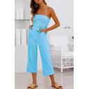 Trendy Classic Blue Tie Waist Strapless Sleeveless Leisure Bandeau Jumpsuits