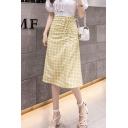 Stylish Elastic Waist Check Printed Bow Tie Midi A-Line Skirt