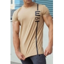 Mens Letter Striped Print Short Sleeve Round Neck Casual Loose Sport Cotton Tee