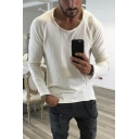 Trendy Personalized Mens Plain Long Sleeve Round Neck Slim Fit Tee