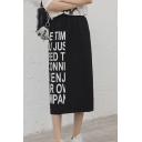 Black Elastic Waist Letter Printed Slit Back Midi Straight Skirt for Women