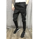 Men's New Fashion Solid Color Zip Embellished Drawstring Waist Black Casual Pencil Pants