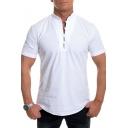 White Henley Neck Short Sleeve Fashion Casual Loose Shirt