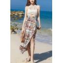 Summer High Waist Chain Printed Beach Midi Chiffon Wrap Skirt