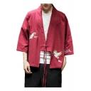 Retro Chinese Style Three-Quarter Sleeves Ukiyo-e Crane Embroidery Linen Cotton Cardigan Kimono Blouse for Men