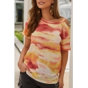 New Arrival Round Neck Short Sleeve Cutout Tie Dye Classic Knitted T Shirt