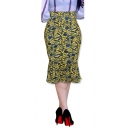 Womens Fancy Floral Printed High Rise Midi Bodycon Fishtail Skirt