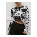 Black Long Sleeve Round Neck Letter Printed Slim Fitted Cropped T Shirt