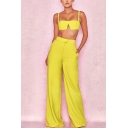 Womens New Fashion Simple Plain Crop Cami Top with Tailored Wide-Leg Pants Two-Piece Set