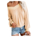 Womens Hot Popular V-Neck Long Sleeve Solid Color Loose Fit Knitted Sweater