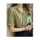 Summer Womens Trendy Plain Lapel Collar Rolled Short Sleeve Button Shirt