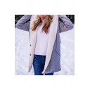 Womens Winter New Fashion Grey Hooded Long Sleeve Button Down Longline Fur Coat