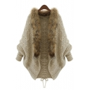 Unique Fashion Fur-Trimmed Batwing Long Sleeve Cable Knitted Cardigan Knitwear