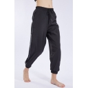 Womens Trendy Black Sheer Mesh Panel Side Drawstring Waist Elastic Cuff Yoga Running Track Pants