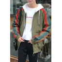 Men's Fashionable Zip Closure Color Block Pattern Long Sleeves Stripes Side Casual Hooded Jacket