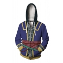 New Arrival Popular Game Theme 3D Pattern Purple Zip Up Comic Cosplay Hoodie