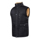 Men's New Trendy Simple Plain Zip Placket Sleeveless Padded Vest Jacket