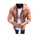 Men's New Fashion Simple Plain Pleated Detail Zip Cuffs Long Sleeve Hooded Zip Up Hoodie