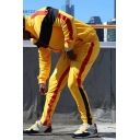 Men's Hot Fashion Colorblock Patched Long Sleeve Stand Collar Zip Up Hoodie Sports Sweatpants Yellow Casual Two-Piece Set