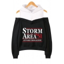 Hot Popular Storm Area Printed Cold Shoulder Long Sleeve Hoodie