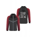 New Trendy Letter WOLF ALIVE Wolf Print Zip Closure Long Sleeve Hooded Black Baseball Jacket