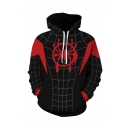 Hot Popular Spider Wed 3D Printed Long Sleeve Loose Fit Black Casual Cosplay Hoodie