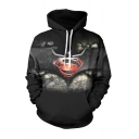 Popular Fashion Logo S Bat 3D Printed Black Drawstring Hooded Long Sleeve Black Casual Loose Pullover Hoodie