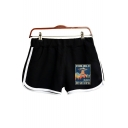 New Fashion UFO Storm Area Pattern Elastic Waist Loose Sport Dolphin Shorts