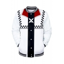 Mens New Trendy Comic Pattern Stand Collar Long Sleeve White Baseball Jacket