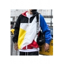 New Stylish Street Style Letter DAILY STYLE Colorblock Print Zipper Long Sleeve Hooded Loose Casual Windbreaker Jacket