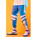 Men's Street Style Cool Fashion Colorblock Stripe Letter Printed Loose Fit Elastic Cuffs Reflective Track Pants