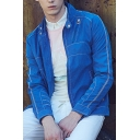 Men's Hot Popular Simple Plain Stand Collar Long Sleeve Zip Up Casual Jacket