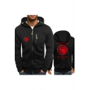 Fire and Blood Dragon Logo Printed Long Sleeve Zip Up Fitted Hoodie