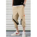 Summer New Fashion Simple Plain Buckle Strap Embellished Cropped Sports Cargo Pants with Side Pocket