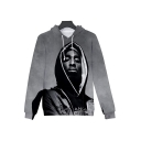 Cool Classic Rapper Portrait Printed Grey Loose Casual Drawstring Hoodie