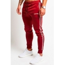 Mens New Stylish Letter Embroidered Contrast Stripe Side Drawstring Waist Slim Fit Trendy Sports Cotton Pencil Pants