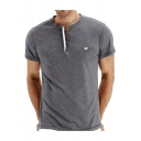 Mens Hot Style Simple Plain Short Sleeve Button V-Neck Henley Shirt