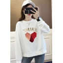 Women's ROMANTIC Letter Print Long Sleeve Round Neck Loose Sweatshirt