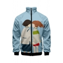 Hot Fashion 3D Figure Printed Stand-Collar Long Sleeve Zip Placket Blue Baseball Jacket