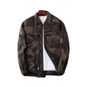 Men's Stylish Camo Printed Zip Up Lapel Collar Long Sleeve Hip Hop Street Style Unisex Jacket