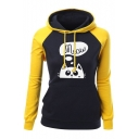 Cute Cat Letter Printed Long Sleeve Color Block Pullover Drawstring Hoodie